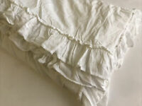 Piu Belle Ruffled Edge King Duvet Cover White Cottage PiuBelle Cotton Shabby