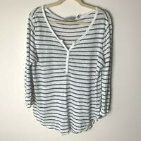 Athleta Women's Linen Top Size Large 3/4 Sleeves Black White Stripes Casual