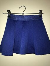 Justice Girls Skirt Leopard Animal Print Elastic Waist Band Royal Blue Size:7