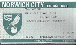 NORWICH V LIVERPOOL 1988/89 LEAGUE DIVISION ONE  MATCHDAY TICKET - 01/04/1989