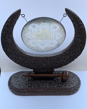 More details for ornate indian carved wood frame dinner gong with taj mahal engraved gong
