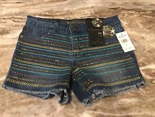 Vigoss Girls Size 14 Jean Shorts The Chelsea Sequined Stretch Denim New