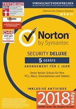 NORTON (Internet) SECURITY DELUXE 5-Geräte/1-Jahr 2018/2019 PC/Mac/Android / KEY