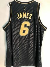 Adidas Swingman NBA Jersey Miami Heat Lebron James Black Pr Metals sz 2X