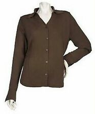 XL - DIALOGUE Stretch Matte Jersey Button Front Blouse QVC A82370 Coffee Brown