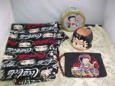 Lot of 4 Collectible Betty Boop Items Sleep Pants Cookie Tin Mug Motorcycle Bag
