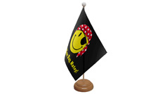 Have A Nice Day Matey Pirate Table Flag with Wooden Stand