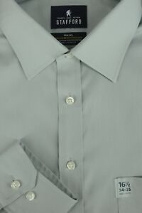 Stafford Men's Slate Gray Broadcloth Cotton Poly Dress Shirt 16.5 x 34/35 New