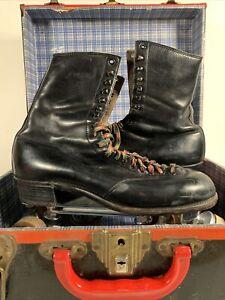 Vintage Chicago Gold Medalist Line Roller Skates Size 9 R Black Leather w Case
