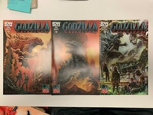 IDW GODZILLA : CATACLYSM #1 : 3 COVERS BUNDLE : REG, SUB, RI : NM CONDITION