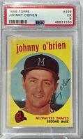 1959 Topps #499 Johnny O'Brien PSA EX 5 Milwaukee Braves