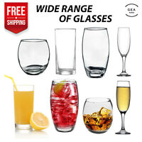 6pc Lowball Highball Tumbler Glassware Curved Drinking Glass Set Tall Wide Clear