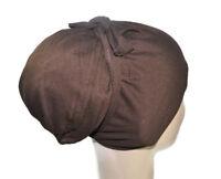 Tie back 100% Cotton Bonnet Under Scarf Shawl Hijab Chemo Cap(no bun)+Gift Scarf