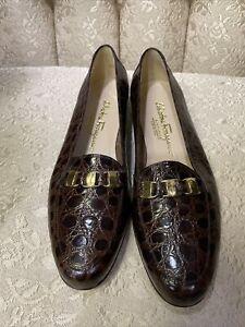 Salvatore Ferragamo Boutique Womens  Nabuck Calf Leather Loafers Sz 9.5 B NWOB