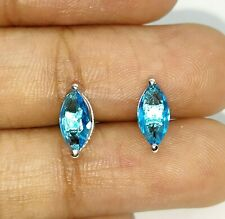 AAA 3.00ct 14K White Gold Over Marquise Cut Aquamarine Color Stone Stud Earrings