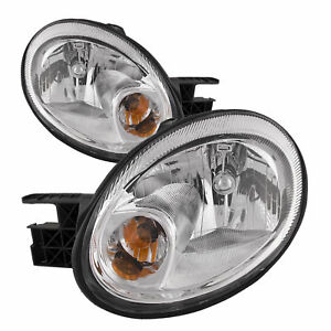 FITS FOR 2003 2004 2005 DODGE NEON HEADLIGHT RIGHT & LEFT W/CHROME TRIM