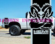 Hemi Power 5.7l Dodge Ram Rear Bed Stripes Truck Decals Stickers Racing 2cnt