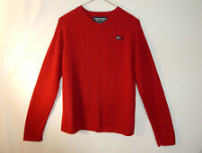 Abercrombie and Fitch Mens Knit V Neck Pullover Red Sweater Size SMALL S