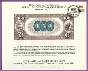 BEP 1982 IPMS B56 VCC Souvenir Card 1882 $100 Brown Back National Note Back/Rev