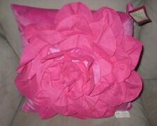 girls pink rosette square toss pillow Just For Kids fuchsia decorative accent