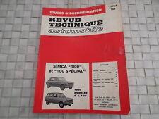 REVUE TECHNIQUE SIMCA 1100 ET 1100 SPECIAL TOUS MODELES 5 - 6 - 7 CV
