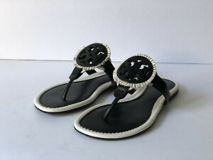 TORY BURCH MILLER FRINGE BLACK/WHITE LEATHER THONG SANDALS, SIZE 5