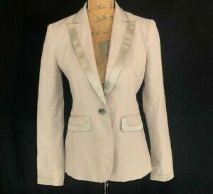 Banana Republic 2 Blazer Beige Taupe Satin Lapel Trim Pocket Suit Jacket Work S