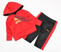 Puma Baby Boy 2 Piece Set Hoody Pant Suit Red Black Sizes: 0-3, 3-6 Months