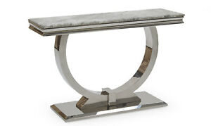 Marble Top & Polished Chrome Legs Luxury Grey Console Side Table Lounge Dining