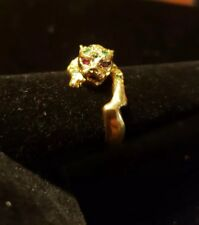 Estate 18kt Yellow gold Emerald and Ruby Leopard Cat Cheetah Ring