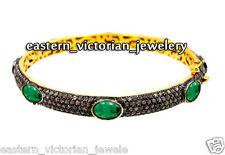 Victorian Estate 6.72Ct Rose cut Diamond Emerald Silver Bangle Bracelets Jewelry