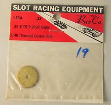 1960's Buzco 534 SPUR GEAR 34T 5/40 Threaded Center hole 1:24 1:32 slot cars MOC
