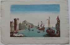 Vue d'optique Guckkastenblatt Hafen Gibraltar Puerto  Kupferstich 1750 Spanien