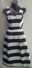 BASQUE Dress SIZE 8 Stripe Pleated Cocktail Event Myer Designer BNWT RRP $169
