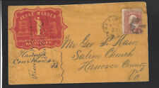 """BALTIMORE, MD, 1860's. CAMEO. Red Illustrated """"Jesse Marden"""". Very Fine Cover"""