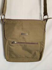 Baggallini Taupe Medium Size Nylon Crossbody Shoulder Bag Zip & Magnetic Pockets