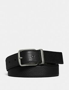NWT - COACH Men's 'CUT-TO-SIZE' Black/Brown HARNESS REVERSIBLE LEATHER BELT - OS