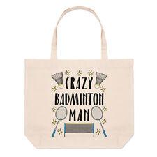 Crazy Badminton Man Stars Large Beach Tote Bag - Funny Sport