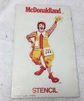 Vintage McDonaldland Ronald McDonald Stencil 1973 Printed in U.S.A
