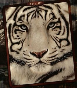 WHITE TIGER BLANKET - FUZZY SOFT - 50 X 60 NEW - Royal Plush Raschel