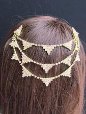 Women Gold Head Metal Chains Fashion Jewelry Hair Pin Gold Triangles Rhinestones