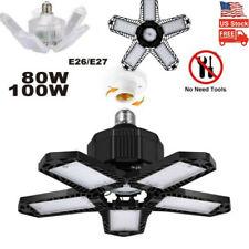 100/80W LED Garage Light Bulb Deformable Ceiling Fixture Lights Workshop Lamp US