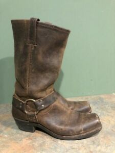 FRYE 77300 BROWN LEATHER SQUARE TOE TRIPLE HARNESS MOTO BOOTS SIZE 9.5M