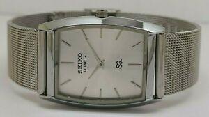 seiko quartz super slim men steel silver dial excellent wrist watch run order