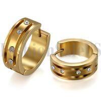 2PCS Men Women Unisex Rhinestone Stainless Steel Charm Hoop Huggie Earrings Stud