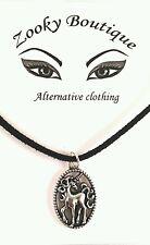 Unicorn horse pony Silver tibetan Black suede choker pendant necklace jewelry