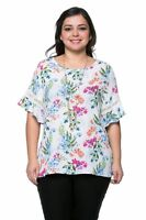 New Women's Plus Size White Blue Bright Floral Print Top (Blouse) Sizes 1X 2X 3X