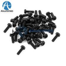 50PCS M3 x 10mm Black Nylon Round Phillips Pan Head Screws