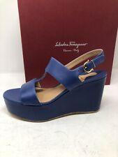$695 New Salvatore Ferragamo Womens Blue Shoes Sandals Heels Size 9.5 C US 39.5