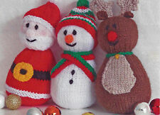 REINDEER FATHER CHRISTMAS SNOWMAN WOBBLE TOY KNITTING PATTERN           (802)